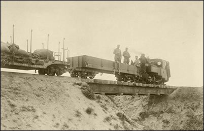 A light coloured Decauville locomotive