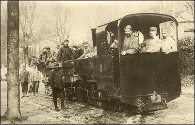 A dark coloured Decauville locomotive